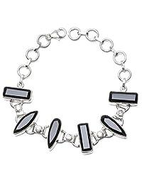 """StarGems(tm) Natural Black Onyx and White Topaz 925 Sterling Silver Bracelet 6-7 3/4"""""""