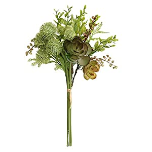 Jasming Artificial Fern Leaves,Lotus,Chestnut Berries Eryngium,Blossom Fillers Mixed Bush Artificial Succulents Picks for Home, Wedding, Restaurant and Office Decoration Arrangement 41
