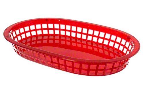 Update International BB107R Oval Fast Food Baskets Red, 10.75'' x 7'', 1 Doz, Case of 3 Doz.