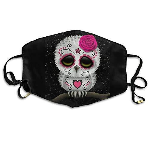 Cute Day The Dead Sugar Skull Owl Stars Printed Anti Dust Face Mask,Reusable Warm Windproof Mouth Mask