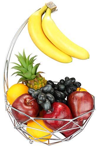 Fruit basket banana hanger, removable banana hanger, home decoration (chrome plated) (Plated Classic Scroll Silver)