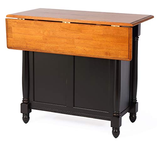 Sunset Trading Black Cherry Selections Kitchen Island, Two Door | Two Drawers, Distressed Antique