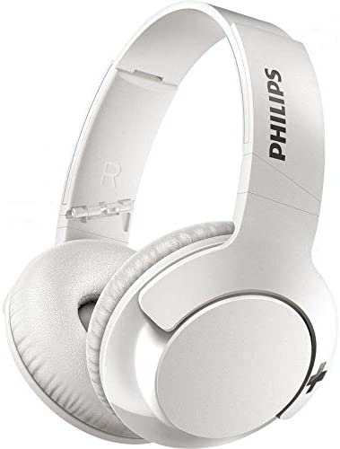 Philips BASS SHB3175 Wireless Headphones, up to 12 Hours of Playtime – Matte White