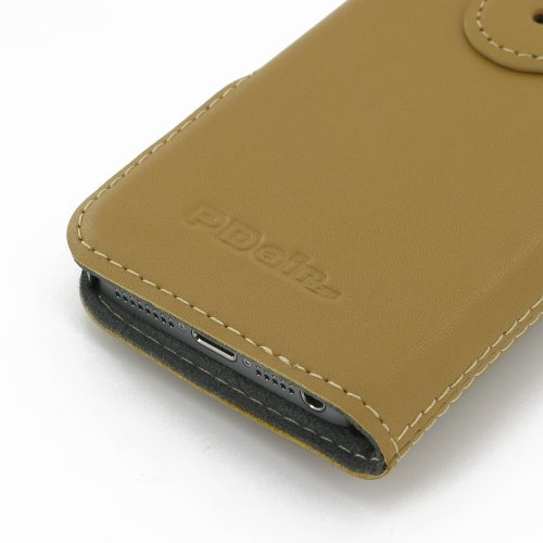 Apple iPhone 5s Ultra Thin Leather Case / Cover (Handmade Genuine Leather) - Book Type (Tan) by Pdair