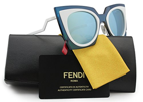FENDI FF0117/S Sunglasses White/Blue w/Blue Silver Mirror (0IC4) 0117 IC4 UT 49mm - Sunglasses Ut