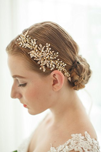 Price comparison product image Meiysh Gold Leaf Themed Crystal Pearl Bridal Party tie Headband Wedding Hair Accessory