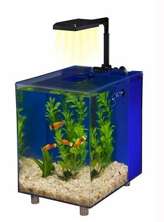 Penn Plax Prism Nano Aquarium Kit With Filter and LED Light, Desktop Size, Black, 2 -