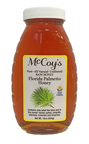 Raw Honey - Pure All Natural Unfiltered & Unpasteurized - McCoy's Honey Florida Palmetto Honey Jar 16oz ()