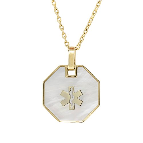 My Identity Doctor USA | Medical Alert Womens Mens Necklace with Pendant | Free Custom Engraving for Diabetes Warfarin Dialysis Stroke Pacemakers (Steel Gold Toned 24in/60cm - with Clasp) ()