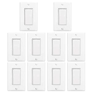 [10 Pack] BESTTEN Light Switch Interrupter (15A, 120/277V), Decor Wall Plate Included, Single Pole Grounding Rocker Switch for Lamp, Residential & Commercial Grade, UL Listed, White