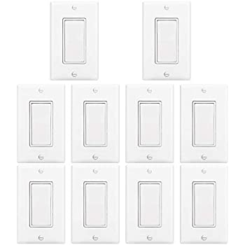 [10 Pack] BESTTEN Light Switch Interrupter (15A, 120/277V), Decor Wall  Plate Included, Single Pole Grounding Rocker Switch for Lamp, Residential &