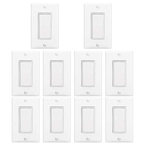 [10 Pack] BESTTEN Light Switch Interrupter (15A, 120/277V), Decor Wall Plate Included, Single Pole Grounding Rocker Switch for Lamp, Residential & Commercial Grade, UL Listed, White - Grade Wall Switch