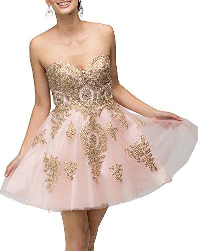 Kurz Abendkleider Appliques Rosa Erosebridal Trägerlos C Gold Ballkleider wR6x7dq4