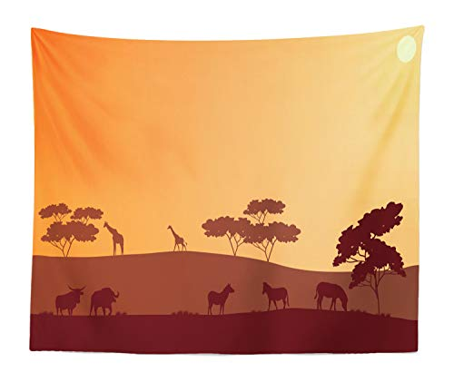 Lunarable Bison Tapestry King Size, Sunset Safari African Silhouette of Zebra Giraffe on Hills Savannah Scenery, Wall Hanging Bedspread Bed Cover Wall Decor, 104 W X 88 L Inches, Maroon Brown Apricot
