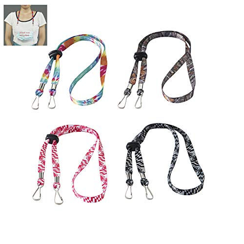 Caishenyeah Adult Children Adjustable Face Masks Clips Lanyards Safety Holders Hangers Around The Neck Lace Strap holder Face Masks for Women Men Kids Head Ear Masks Saver Lanyard with Clasps(color2)