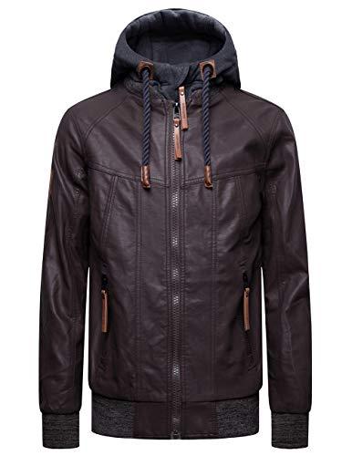 Blackmogoo Mens Faux Leather Jacket Slim Fit Outerwear Windbreaker and Waterproof Hooded Jacket (Designer Jackets Mens Leather)
