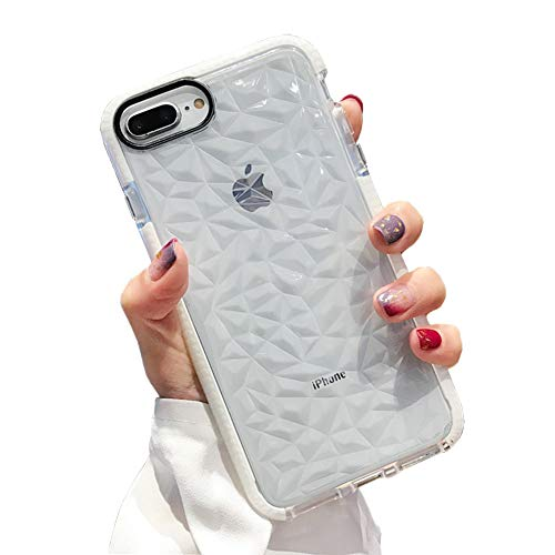 KERZZIL iPhone 8 Plus Case, iPhone 7 Plus Case, Hybird Clear TPU Diamond Pattern Case Cover with Drop Protection Designed Compatible for Apple iPhone 8 Plus/iPhone 7 Plus (White)