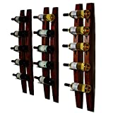 DCIGNA Wall Mounted Wine Rack, Barrel Stave Wine Rack, Wooden Wine Bottle Holder Rack, Imported Pine Wood Metal - 6 Bottles 40x7.6inch (Red Wine Color)