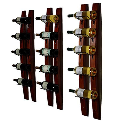 Wall Mounted Wine Bottle - DCIGNA Wall Mounted Wine Rack, Barrel Stave Wine Rack, Wooden Wine Bottle Holder Rack, Imported Pine Wood and Metal - 6 Bottles 40x7.6inch (Red Wine Color)