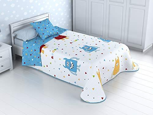 Cabetex Home - Colcha Bouti Infantil Reversible 100% con Funda de cojin y Tacto algodon Mod Monster (Cama de 90 cm (180_x_260 c