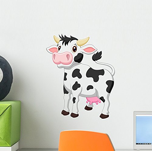 Wallmonkeys Cute Cow Cartoon Wall Decal Peel and Stick Graph
