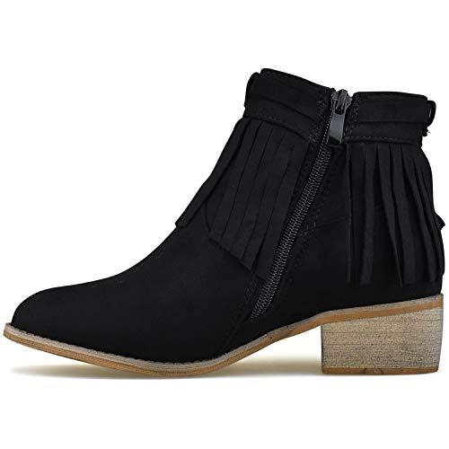 Standard Comfortable Cowboy Booties Western Booties Walking Premier Low Casual Fringe Casual Black Heel UdCqSU6w
