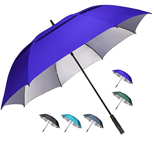 G4Free 68 inch Oversize Windproof Automatic Open Golf Umbrella Double Canopy Vented Waterproof Large UV Sun Protection Stick Umbrellas Gifts for Men Women(Sapphire) ()