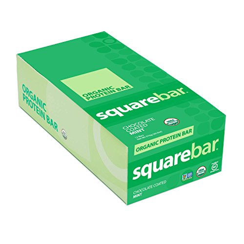 Squarebar Organic Chocolate Coated Protein Bar, Mint, 20.3 Ounce