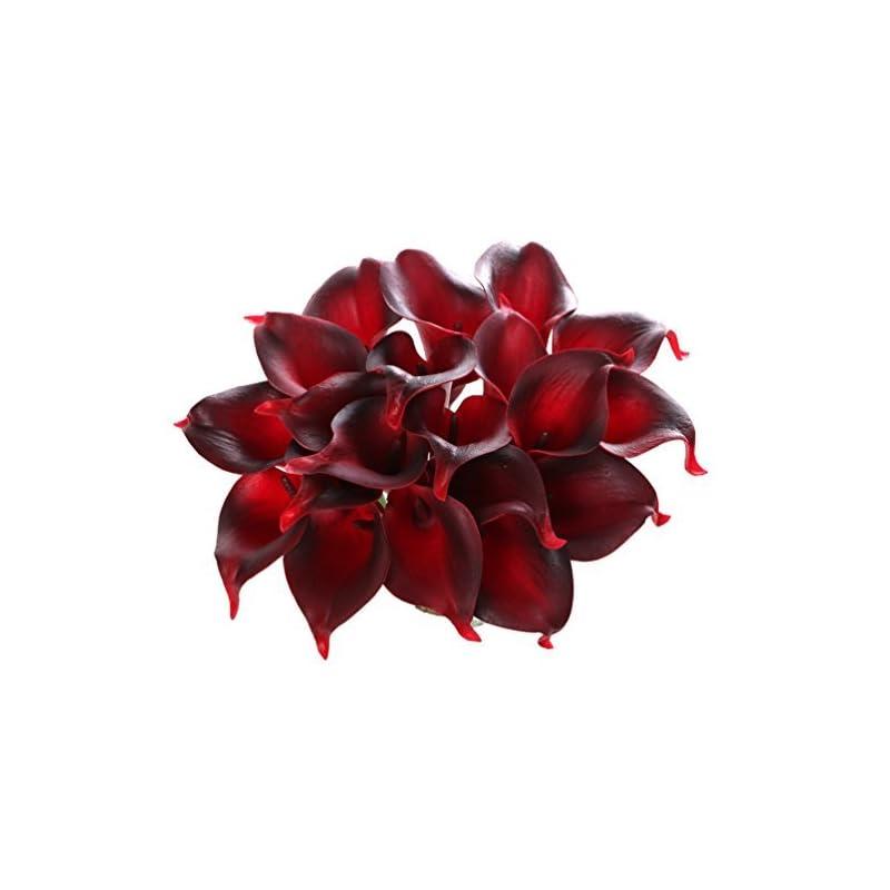 silk flower arrangements houda calla lily bridal wedding artificial fake flowers party decor bouquet pu real touch flower 10pcs (dark red 10pcs)