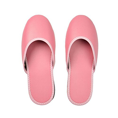 Toe Home Leather Slides Flat Pink House for Women PU Men Close Slippers ENCOCO Shoes P5w8n4qaq