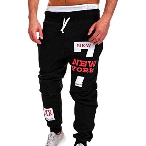 Men Casual Pants,Lelili Fashion New York Letter Printed Drawstring Waist Pockets Loose Sweatpants Trousers (3XL(Asian 3XL=US XL), - Street Spring York New