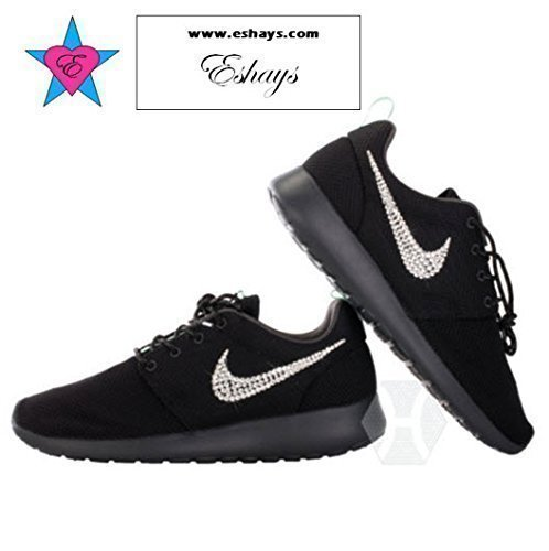 Crystal Swoosh Black Roshe Runs Black Sole Glitter Sneakers by Eshays