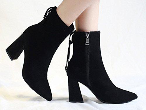 Bottines Femme Chunky Noir Eclair Aisun Mode Fermeture Y7Zgwwvq