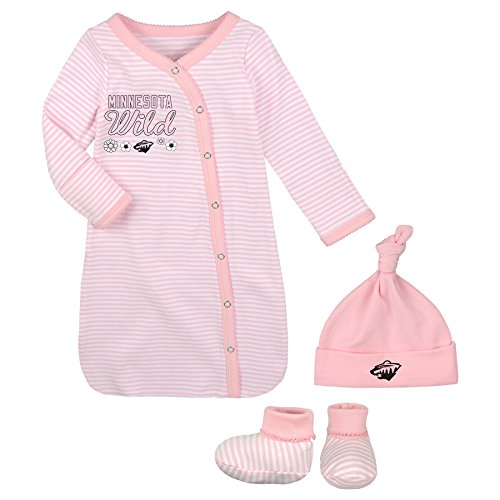 OuterStuff NHL Minnesota Wild Children Girls Pink Gown Hat & Bootie Set, 1 Size, Light (Minnesota Wild Nhl Light)