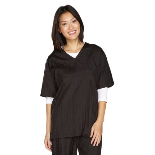 Top Performance V-Neck Grooming Smocks - Comfortable Pull-Over Nylon Tops for Professional Pet Groomers - Medium, Black