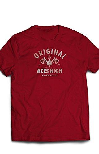 Eron Apparel Motorcycle Motif Series Ace Men Tees, Red, Size Xlarge
