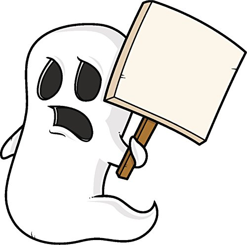 Cute Sad White Sheet Ghost with Picket Sign Cartoon Vinyl Decal Sticker (4