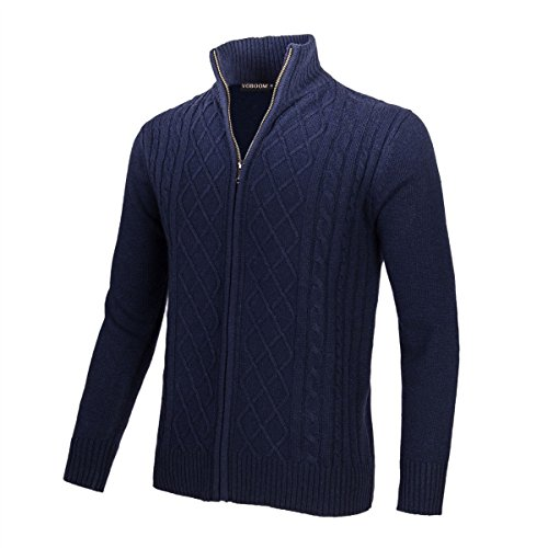 VOBOOM Mens Casual Stand Collar Cable Knitted Zip-up Cardigan Sweater Jacket (Navy, S)