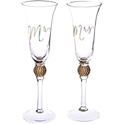Kate Aspen Rhinestone Toasting Flutes (Set of 2)