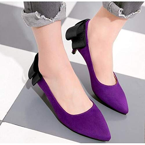 Básica Otoño Mujer De Púrpura Kitten Bomba Rosa Purple Y Primavera Heel Comfort QOIQNLSN Tacones PU Negro Poliuretano Zapatos p0nqfxv