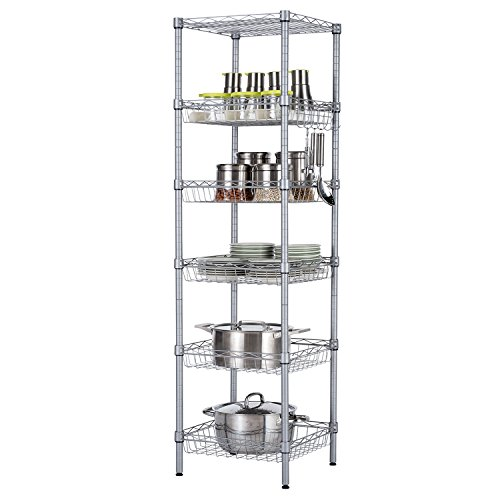 - SINGAYE Storage Shelves, 6-Tier Wire Shelving Unit with Baskets Shelving Adjustable Storage Shelf, 13.4