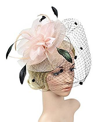 Urban CoCo Women's Bow Feather Net Veil Fascinator Hair Clip Bridal Hat (#3-Nude Pink) by Urban CoCo (Image #2)