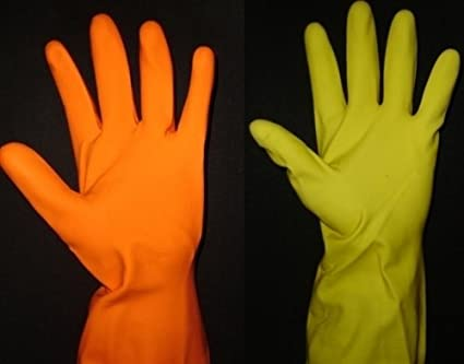 SAFEYURA Rubber Latex, Reusable Hand Gloves for Dish Washing, Cleanin, Large (Yellow)-Pack of 3