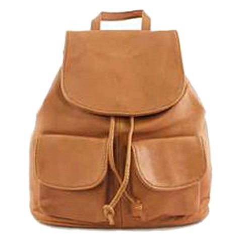 G&G PELLETTERIA - Bolso mochila de Piel para mujer coñac