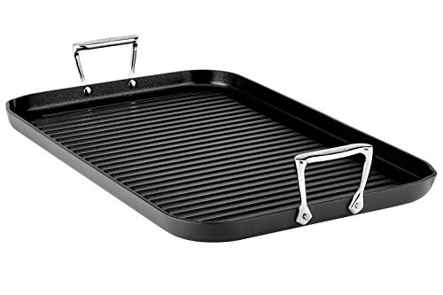(All-Clad 3013 Hard Anodized Aluminum Scratch Resistant Nonstick Anti-Warp Base Double Burner Grande 13-Inch by 20-Inch Grill Pan Specialty Cookware, 20-Inch, Black)