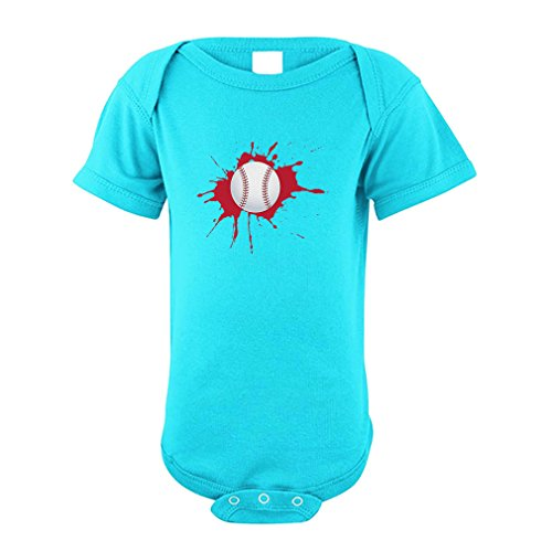 Cute Rascals Baseball Splash Baseball Cotton Envelope Neck Unisex Baby Bodysuit One Piece - Aqua Blue, - Baby Aqua Splash