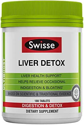 Swisse Ultiboost Liver Detox | Supports Liver Health & Function | Provides Relief for Indigestion & Bloating | Milk Thistle, Artichoke & Turmeric| 180 Tablets