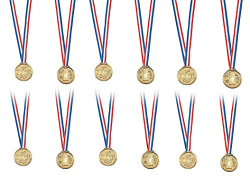 Kidsco Gold Winner Medal Necklaces 1.5 Inches - Pack of 12 - Gold Plastic Winner Awards Contests, Sports Games Etc Kids Great Party Favors, Bag Stuffers, Fun, Toy, Gift, Prize -