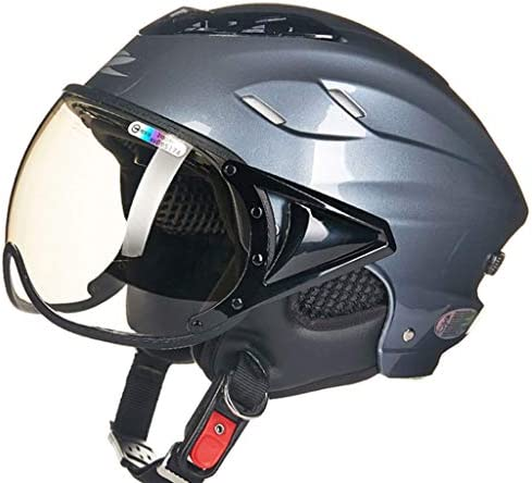 NJ ヘルメット- オートバイの電動ヘルメットの男性と女性の四季ユニバーサルブラウンレンズの安全ヘルメット (色 : ゴールド, サイズ さいず : 30x24x18cm)