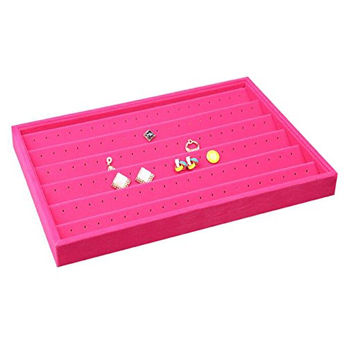 Glitterymall Hot Pink Velvet 60 Pairs Stud Earring Holder Earrings Organizer Display Tray Jewelry Showcase 120 Holes Girl's Woman Collection